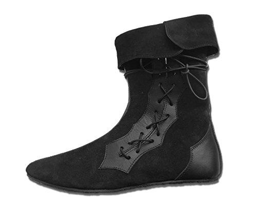 CP-Schuhe Mittelalter Schuhe Halbstiefel aus Rauhleder (43, schwarz)