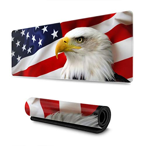 Eagle on American Flag Large Gaming Mouse Pad with Stitched Edges (31.5x11.8In), Extended Mousepad Non-Slip Rubber Base Keyboard Mat Desk Pad for Work Gaming