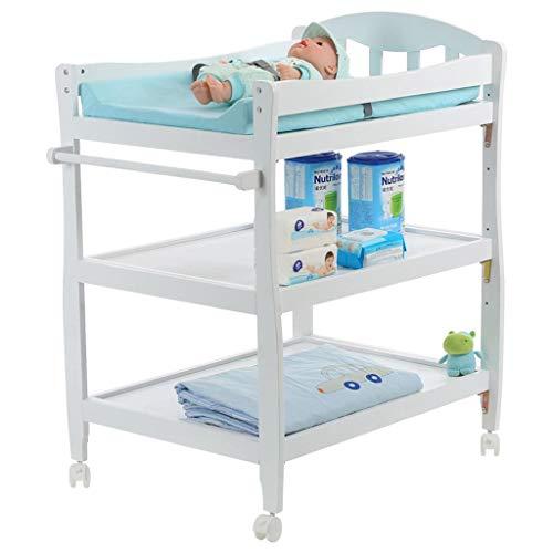 Ali@ Table à langer de bébé en bois de pin, Table de massage réglable en hauteur de quatrième vitesse, mobile avec station de soins pour nouveau-nés de frein, table/bureau d'école pour enfants, char