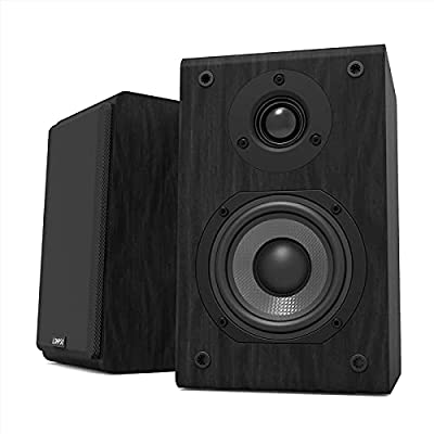 Passive Bookshelf Speakers Pair, LONPOO Hi-Fi PC-Speakers with Carbon Fiber Woofer and Silk Dome Tweeter, Two-Way, 75W RMS, 4~8 ohm (LP42) by Zhongxinguang