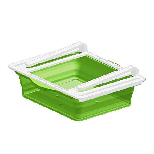MANTFX Organizador De Cajones De Plástico para Frigorífico, Capa Divisoria De Frigorífico Plegable Transparente, Soporte para Estantes De Frigorífico para Huevos, Frutas Y Verduras (Verde)