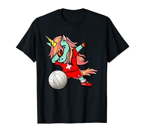 Lustiger Dabbing Einhorn Schweiz Volleyball Schweizer Flagge T-Shirt