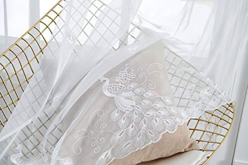M&W DasDesign Cortina transparente de tela con ojales para salón, dormitorio, diseño de pavo real, plumas, estores, protección solar y visual, 140 x 245 cm, color blanco (2 unidades)