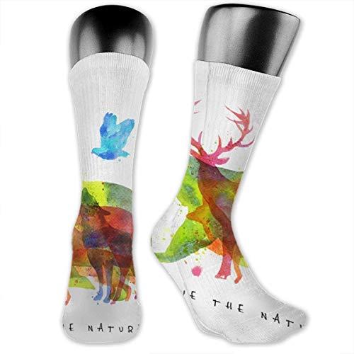 zhouyongz Save The Nature Wild Animals Abstract Over-The-Calf Socks Athletic Socks Knee High Socks For Men Women Sport Long Sock Stockings 40CM