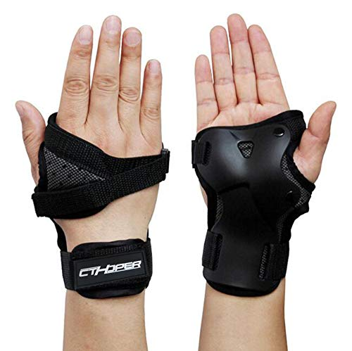 CTHOPER Handgelenkschoner, Handgelenkbandage für Skaten, Skateboard, Skifahren, Snowboard, Motocross, Multi-Sport-Schutz, schwarz, Medium