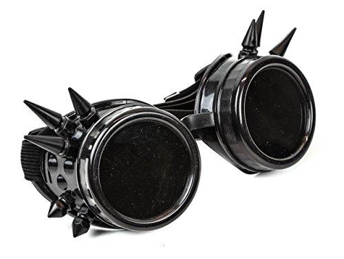 Black Spike Goggles Sunglasses Cosplay Aviator Steampunk Gothic Burning Man