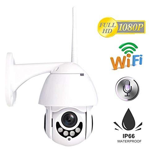 Cámara de seguridad 1080P para exteriores HD Wifi inalámbrica panorámico inclinación, zoom de vigilancia IP visión nocturna audio bidireccional detección de movimiento y alertas