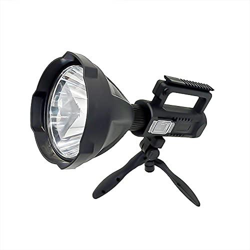 Linterna LED recargable de 6000 lúmenes, linterna súper brillante, 4 modos, IPX5, impermeable, para senderismo, camping, caza y emergencias con trípode y salida USB, tamaño mediano