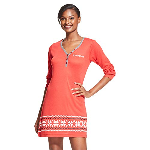 bebe Womens Long Sleeve Henley Scoop Neck Nightgown Lounge Pajama Sleep Shirt Holly Red Small