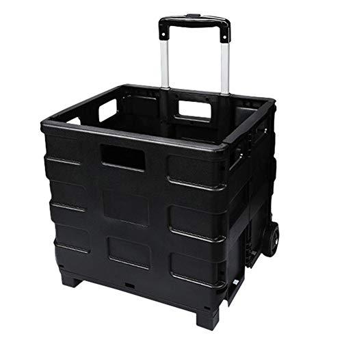 Jinclonder Opvouwbare auto-kofferbak-opbergwagen, multifunctionele boodschappentrolley, voor op kantoor, grote capaciteit, duurzame handkar met wielen en trekdissel
