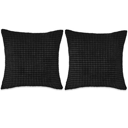 XINGLIEU Xingglie - Juego de 2 Cojines de Terciopelo, Funda de Tela con Relleno de algodón y Polipropileno, 60 x 60 cm, Color Negro