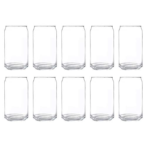 Beer Can Glasses Set of 10, 16 oz. Pint Sized, Soda Can Shape, Glassware, Clear