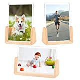 4x6 inch Picture Frames Set of 3 Solid Wood Acrylic Photo Frames Vertical Horizontal Highly Definition Acrylic Display Wall Pictures for Floating Shelf Photo Display Decor Wall Mounting Table