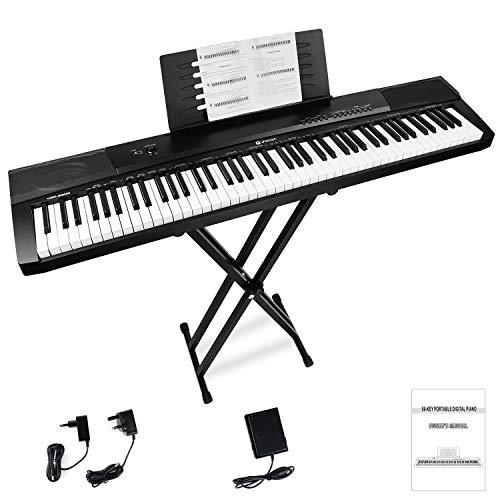 Vangoa Teclado de piano 88 teclas Teclas sensibles a la velocidad Piano Digital con soporte para teclado, Pedal, 16 Demos, 140 Timbres