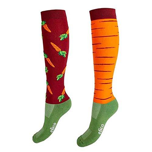 Elico - Calcetines de equitación, diseño de zanahoria