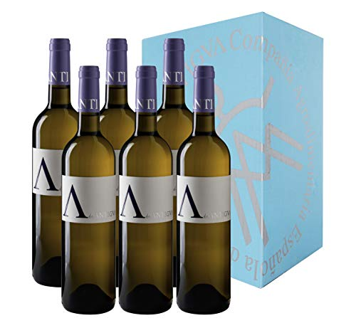A de ANTIGVA Vino blanco joven Sauvignon Blanc - Vinos de la Tierra de Castilla - La Mancha - Caja de 6 botellas 0.75 l