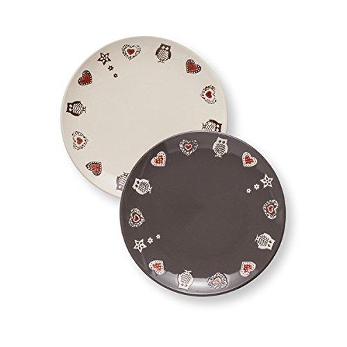 BRANDANI 54091 Incanto Stoneware - Juego de platos pequeños (2 unidades), color gris