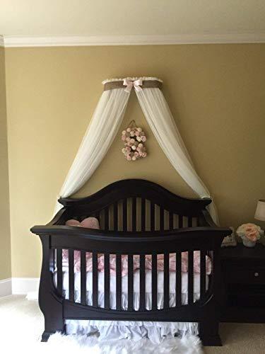 Princess Bed canopy BURLAP CrOwN FrEe White Sheer curtain Petite Bow cornice coronet teester Nursery Crib custom design So Zoey Boutique SALE