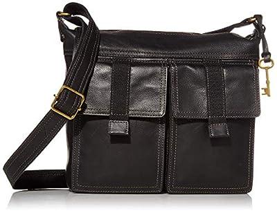 Fossil Women's Cargo Leather Crossbody Handbag, Black