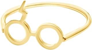 AFFY Harry Potter Lightning Bolt Glasses Ring in 14K Gold Over Sterling Silver