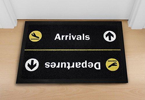 Close Up Fußmatte - Arrivals/Departures - waschbare Türmatte (40 x 60 cm) - Schwarz gelb