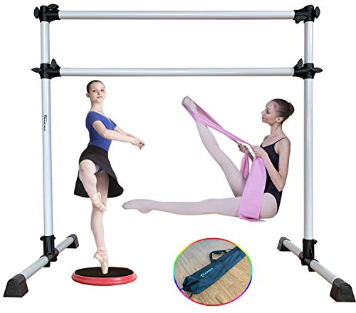 Marfula 4 Ft Adjustable & Portable Freestanding Ballet Barre Bar with Carry Bag and Stretch Band and Turning Board