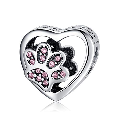 LeeFeel Love Heart Footprints Charms Exquisite Imitation Sterling Silver Dog Cat Paw Prints Beads Charms for Women Bracelets Charm DIY