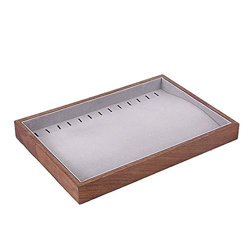 Fransande Joyero de madera con forma de lágrima para pendientes, caja organizadora plana apilable, bandeja de almacenamiento vacía