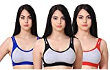 new blue eyes Non Padded Cotton Gym Wear Daily Workout Sports Bra for Girls Pack of 3 (34)