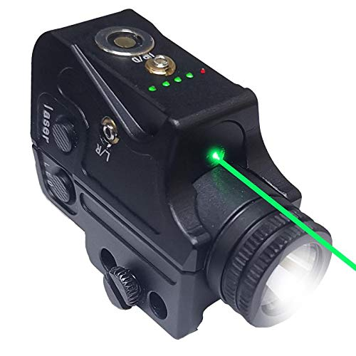 Tactical Flashlight Laser Sight,Aluminum Structure with Hardcoat Black Anodized Surface,Green Laser Light Combo Fits with Most of Pistols,Shotguns That Has a Picatinny Rail or 20mm Weaver Accessories