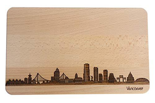Brotzeitbrett Vancouver Kanada I Skyline   Frühstücksbrettchen aus Buche   Holz Schneidbrett   Geschenk mit Gravur   Frühstücksbrett (22x14x1cm, 1. ohne persönliche Gravur)