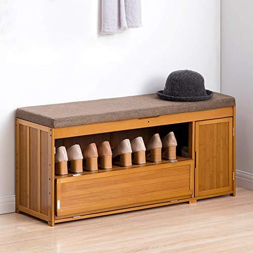 Wakects Zapatero de entrada con cajón y cojín, de bambú, capacidad de carga de 100 kg