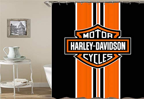 ZZZdz Logotipo De Harley Davidson. Impermeable. Fácil De Limpiar. 12 Ganchos Libres. Impresión 3D HD. No Se Desvanecen Cortina De Ducha 180X180 Cm.