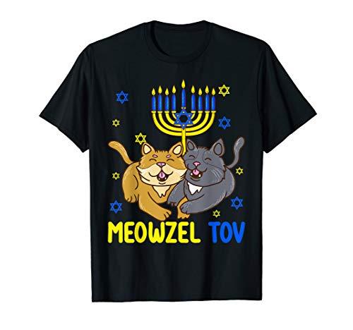 Hanukkah Menorah Cat Funny Meowzel Tov Chanukah Jewish Gift T-Shirt