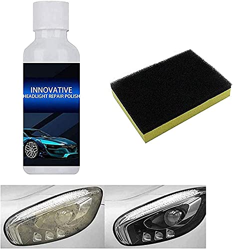 Esmalte reparación faros innovador, líquido pulido reparación renovación faros, mantiene un revestimiento transparente faros delanteros adecuado todos los faros coche con juego esponjas (1 Uds)
