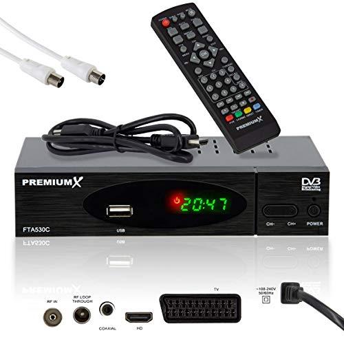 PremiumX FTA 530C Full HD Digitaler DVB-C TV Kabel-Receiver | Auto Installation USB Mediaplayer SCART HDMI Antennenkabel WLAN optional | Für digitales Kabelfernsehen