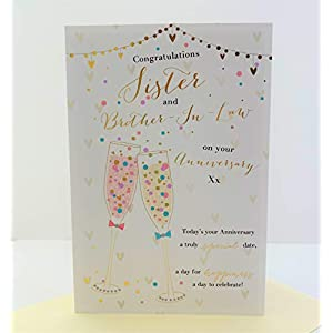 Happy Silver Anniversary Sister Brother In Law Love 25th Wedding Anniversary Card Wedding Cake Flowers 3d Glitter Foil Detail Amazon Co Uk Office Products
