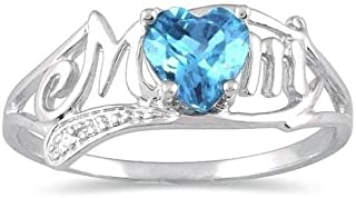 Elizabeth Jewelry Simulated Blue Topaz & Diamond Heart MOM Ring .925 Sterling Silver Rhodium Finish