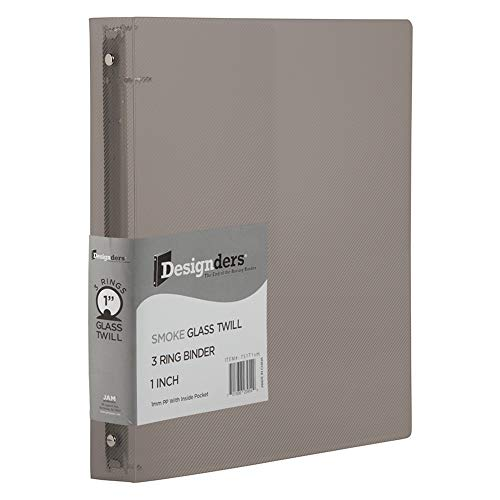 JAM PAPER Plastic 1 inch Binder - Smoke Grey 3 Ring Binder - Sold Individually