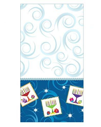 Hanukkah Decorations Tablecloth for Jewish Holidays Plastic 54' x 96' Menorah Design