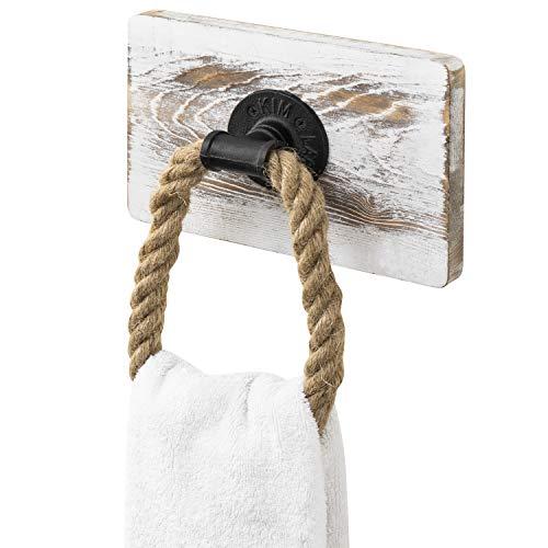 MyGift Handtuchring aus rustikalem Holz und industriellem Rohr, Wandmontage, Weiß getüncht