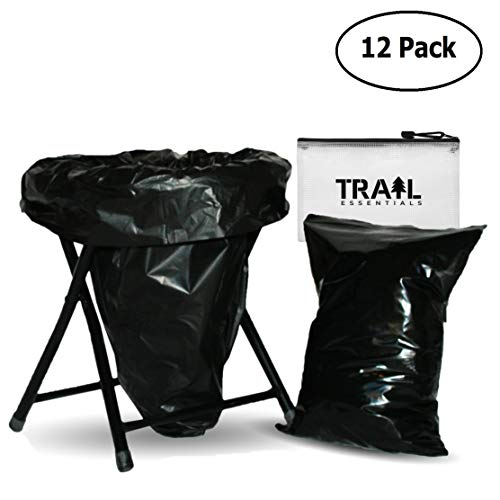 Trail Essentials Carry-Out Toilet Waste Bags and Toilet Liner Bags, Reclosable Outer Bag, Black Opaque, Zip Seal, Leak Free, Smell Proof (12 Toilet Liners + 12 Carry-Out Bags)