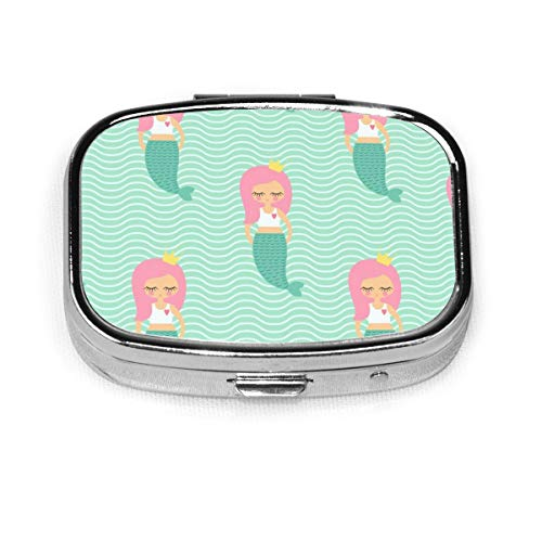 Cute Pink Hair Mermaid Girl Custom Fashion Silver Square Pill Box Medicine Tablet Holder Wallet Organizer Case For Pocket Or Purse Vitamin Organizer Holder Decorative Box