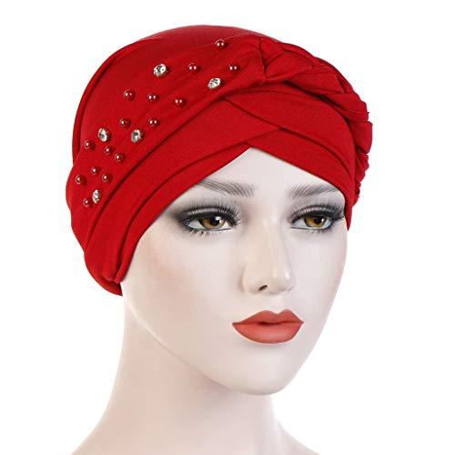 RISTHY Pañuelos Oncologicos para Mujer,Musulmán Turbante Elástico Sombrero Plisado Bambú para Quimio Gorros Color Sólido para Cáncer