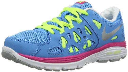 Nike Grade-School Dual Fusion Run 2 Vivid Blue/Metallic Silver-Volt 599793-401 Shoe 5.5Y M US Youth