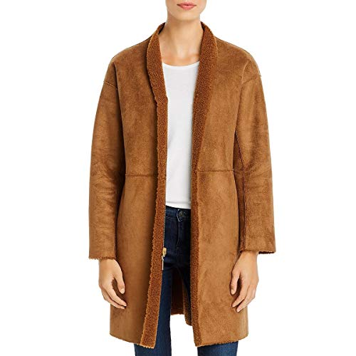 Kenneth Cole New York Womens Faux Suede Shearling Car Coat Brown L