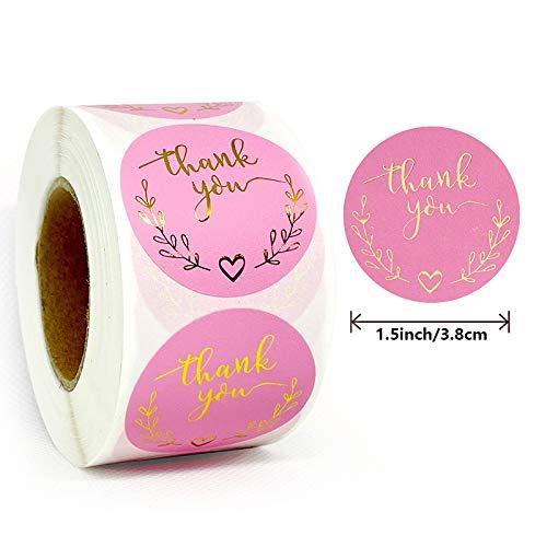 「Thank you」ありがとう シール ラッピング ラベル ステッカー ギフトシール クリスマスギフト ステッカー ビッグサイズ 円型 手作りシール 可愛い 業務用 感?の日 500枚 (3.8CM B)