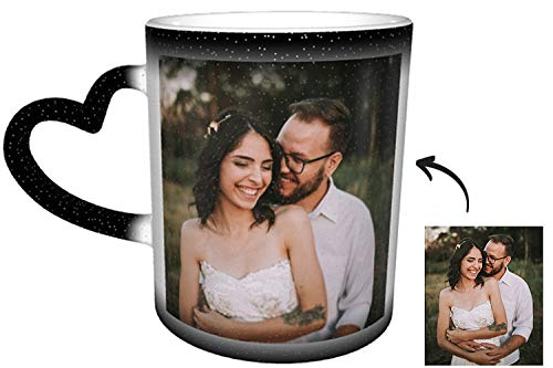 Tasse mit Foto, Zaubertasse Magische Kaffeetasse mit Ihrem Wunschfoto Farbwechsel Tassen mit Namen Bedrucken Gravur Personalisiert Fotogeschenk für Jahrestage oder Hochzeitstag