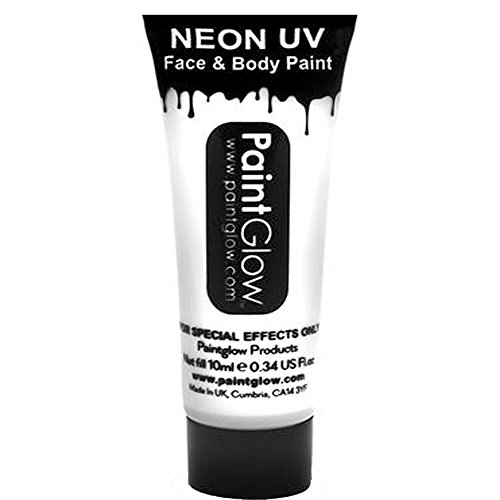 Smiffy's Colors Pintura Corporal Y Facial Neon Uv White, color blanco intenso,...