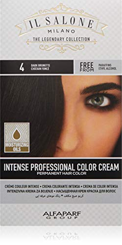 Il Salone Milano Permanent Hair Color Cream - 4 Dark Brunette Hair Dye - Professional Salon - Premium Quality - 100% Gray Coverage - Paraffin Free - Ethyl Alcohol Free - Moisturizing Oils